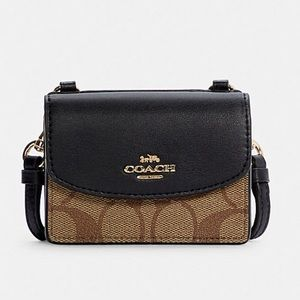 NWT Coach Mini Flap Card Case On Lanyard In Colorblock Signature Canvas